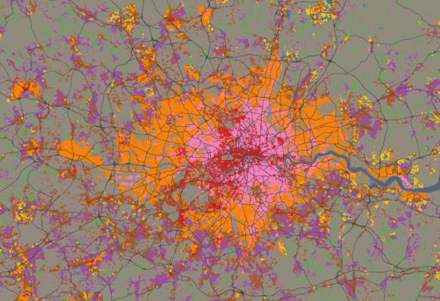 A map of OAC SuperGroups in London. Source: http://oac.datashine.org.uk