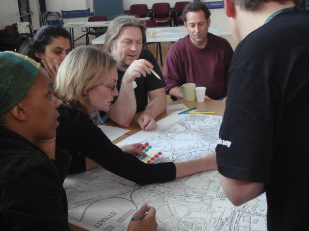 Photo of 2007 participatory mapping contributors working together in Hackney Wick, London, 2007