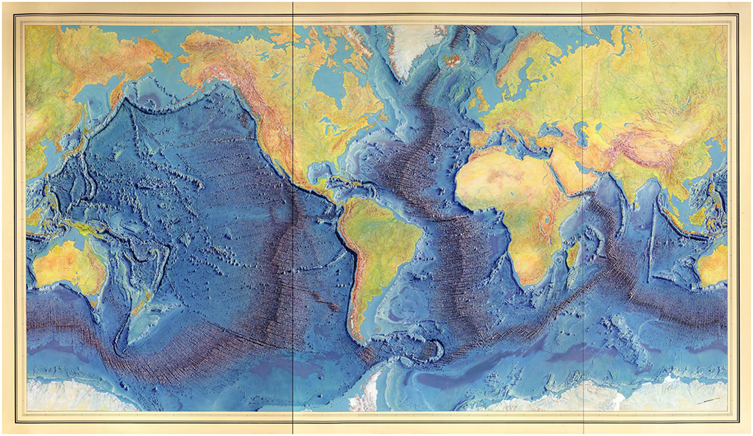 The new face of the ocean as imagined by Marie Tharp (in collaboration with Heinrich Berann and Bruce Heezen), 1977. Source: US Navy, Office of Naval Research