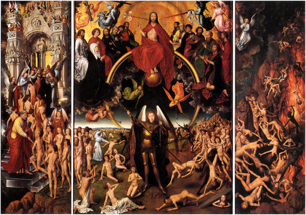 The Last Judgment, triptych by Hans Memling, 1467–71, National Museum Gdansk. On the right-hand panel, the damned are being dragged to the burning Hell. Source: Public Domain