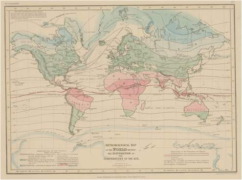 Early climatic world map from the Atlas of Physical Geography published by August Heinrich Peterman in 1850. The map marks climate zones by color to illustrate the distribution of the temperature of the air. The torrid zone is colored in red, the temperate zone is colored in green, the frigid zone is given in blue Source: Staatsbibliothek Berlin – preußischer Kulturbesitz