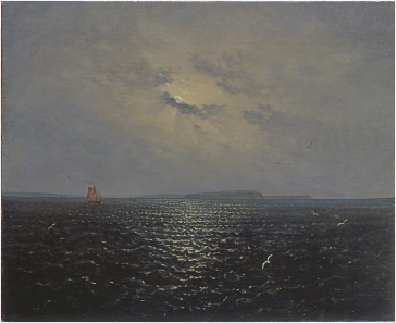 Moonlit night near the island of Rügen c.1819 by Carl Gustav Carus (1789-1869) Source: © Staatliche Kunstsammlungen Dresden; German, out of copyright. Available at: https://commons.wikimedia.org/wiki/File:Carl_Gustav_Carus_-_Mondnacht_bei_R%C3%BCgen.jpg