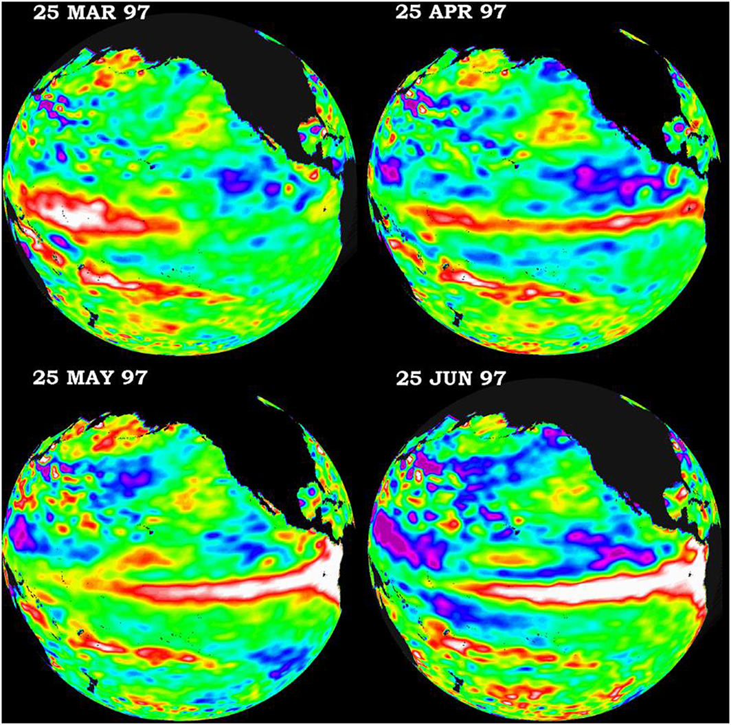 'Satellites confirm that El Niño is back and strong'. Series of images composed from TOPEX/Poseidon satellite data during the spring of 1997 Source: NASA Jet Propulsion Laboratory, California Institute of Technology, ocean surface topography from space: https://sealevel.jpl.nasa.gov/science/elninopdo/elnino/index.Cfm?FuseAction=ShowNews&NewsID=250 (last accessed 11 January 2017)